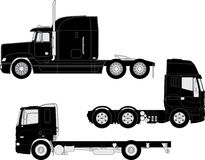 Truck silhouettes. Vector detailed trucks silhouettes set Stock Photography