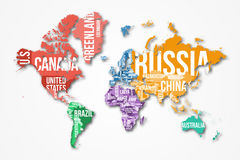 Vector detailed world map with borders and country names. Royalty Free Stock Images