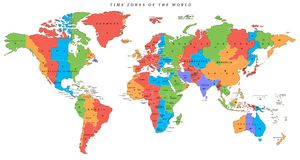 Vector detailed world map with time zones. And countries Royalty Free Stock Images