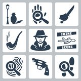 Vector detective icons set. Man under street lamp, magnifier and handprint, knife in hand, smoking pipe, detective, crime scene, magnifier and fingerprint Stock Photography