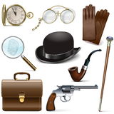 Vector Detective Icons. On white background Royalty Free Stock Photos