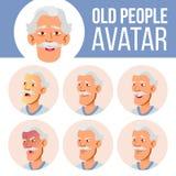 Vector determinado asiático de Avatar del viejo hombre Haga frente a las emociones Person Portrait mayor Personas mayores envejec ilustración del vector