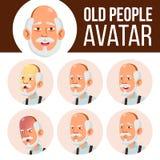 Vector determinado asiático de Avatar del viejo hombre Haga frente a las emociones Person Portrait mayor Personas mayores envejec stock de ilustración