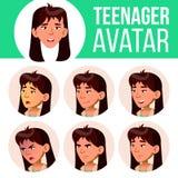 Vector determinado de Avatar de la muchacha adolescente asiática Haga frente a las emociones Facial, gente Active, alegría Ejempl ilustración del vector