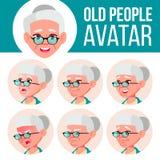 Vector determinado de Avatar de la mujer mayor Haga frente a las emociones Person Portrait mayor Personas mayores envejecido Faci Imagen de archivo