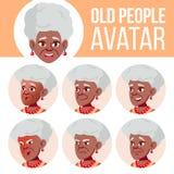 Vector determinado de Avatar de la mujer mayor negro Afroamericano Haga frente a las emociones Person Portrait mayor Personas may Stock de ilustración