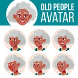 Vector determinado de Avatar de la mujer mayor negro Afroamericano Haga frente a las emociones Person Portrait mayor Personas may Libre Illustration