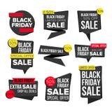 Vector determinado de la bandera de la venta de Black Friday Etiquetas engomadas del sitio web, diseño negro de la página web El  ilustración del vector