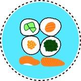 Vector determinado de la etiqueta engomada del sushi Fotografía de archivo libre de regalías