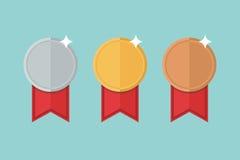 Vector determinado de la medalla Medalla de oro, medallista de plata, medalla de bronce ilustración del vector
