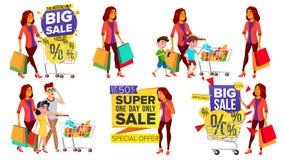 Vector determinado de la mujer de las compras Gente en alameda Familia, niños Compra de concepto Comprador feliz Llevar a cabo lo libre illustration