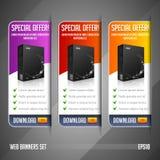 Vector determinado de la oferta especial de la bandera moderna del web coloreado: Rojo, amarillo, anaranjado, violeta, púrpura Imagenes de archivo