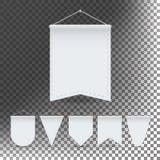Vector determinado de la plantilla blanca del banderín Espacio en blanco vacío de las banderas de los banderines 3D Diversas form Fotos de archivo libres de regalías