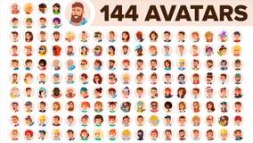 Vector determinado del avatar de la gente Hombre, mujer Emociones humanas Varón anónimo, femenino Placeholder del icono Person Sh ilustración del vector