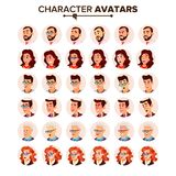 Vector determinado del avatar de la gente Hombre, mujer Retrato del usuario En fondo verde Varón hermoso, femenino Patrón moderno ilustración del vector