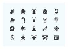 Vector determinado del icono de la Navidad Iconos de la silueta Foto de archivo libre de regalías