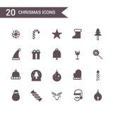 Vector determinado del icono de la Navidad Iconos de la silueta Fotografía de archivo libre de regalías