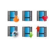Vector determinado del icono video de la película Imagenes de archivo