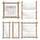 Vector determinado del marco de bambú con la lona El marco de madera de los palillos de bambú envolvió en cuerda plantilla de la  ilustración del vector