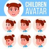 Vector determinado del niño de Avatar de la muchacha Escuela primaria Haga frente a las emociones Niños, gente joven Infantil, di ilustración del vector