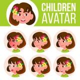 Vector determinado del niño de Avatar de la muchacha kindergarten Haga frente a las emociones Historieta, cómico, plana Poco, lin libre illustration