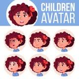 Vector determinado del niño de Avatar de la muchacha kindergarten Haga frente a las emociones Web, cabeza, icono Belleza, forma d ilustración del vector