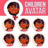 Vector determinado del niño de Avatar de la muchacha kindergarten Indio, hindú Asiático Haga frente a las emociones Niñez feliz,  stock de ilustración