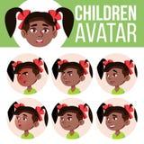 Vector determinado del niño de Avatar de la muchacha kindergarten negro Afroamericano Haga frente a las emociones Niños, gente jo stock de ilustración