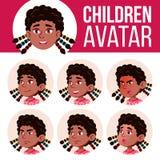 Vector determinado del niño de Avatar de la muchacha negro Afroamericano Escuela primaria Haga frente a las emociones Cabeza, ico libre illustration