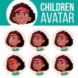 Vector determinado del niño de Avatar de la muchacha negro Afroamericano Escuela primaria Haga frente a las emociones Niño, niño  libre illustration