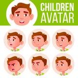 Vector determinado del niño de Avatar del muchacho Escuela primaria Haga frente a las emociones Expresión, persona positiva Carte ilustración del vector