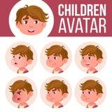 Vector determinado del niño de Avatar del muchacho kindergarten Haga frente a las emociones Historieta, cómico, plana Poco, lindo libre illustration