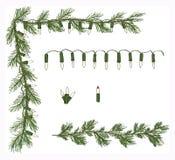 Vector determinado dibujado mano de Garland Corner White Twinkle Light del pino de la variedad Imágenes de archivo libres de regalías