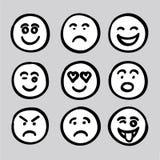 Vector determinado dibujado mano GR de la colección de los iconos de las expresiones del rostro humano Foto de archivo