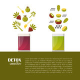 Vector detox smoothies cartoon ingredients Royalty Free Stock Images