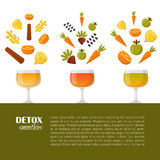 Vector detox smoothies cartoon ingredients Stock Images