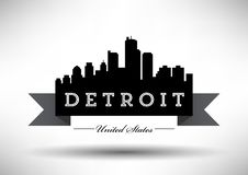Vector Detroit Skyline Design royalty free illustration