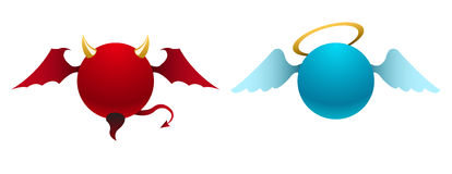 Vector devil and angel icons stock illustration