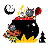 Vector Devils kitchen Cartoon Illustration. Devilry mix the potion in a boiling cauldron.  on a white Background Royalty Free Stock Images