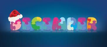 Vector DEZEMBER, der mit Alphabetpuzzlespiel mit Weihnachtshut geschrieben wird Lizenzfreies Stockfoto