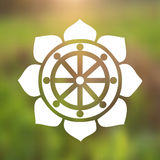 Vector Dharma Wheel in Lotus Flower on a Cosmic Background royalty free illustration