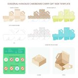 Vector diagonal handled carry cardboard gift box templates set.  vector illustration