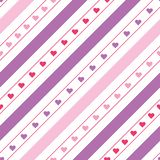 Vector diagonal lines seamless pattern with hearts stock photography