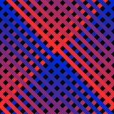 Vector diagonal lines seamless pattern with trendy neon red and blue gradient. Vector seamless pattern with diagonal cross lines in bright neon colors. Retro royalty free illustration