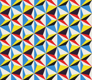Vector Diagonal Movement Seamless Geometric Triangles Pattern in Red Yellow Blue and White Color Royalty Free Stock Images
