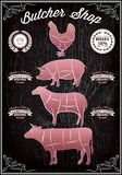 Vector diagram cut carcasses chicken, pig, cow, lamb Royalty Free Stock Images