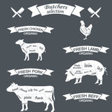 Vector diagram cut carcasses of chicken, pig, cow Royalty Free Stock Photography