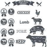 Vector diagram cut carcasses of chicken, pig, cow Royalty Free Stock Images