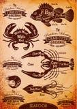 Vector diagram cut carcasses seafood. Vector set of diagram cut carcasses seafood Stock Images