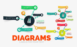 Vector diagram elements set with colour paper sticker icons Stock Photo